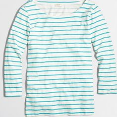 New Item J. Crew Striped Knit Tee Color: Turquoise Ivory.                                                      Cotton. Standard fit. Machine wash.                                                                Factory Brand J. Crew Tops