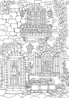 This page features a nice exterior of a fancy European house. Add a personal touch to it, coloring and decorating the wall to your liking. design drawing Fancy Exterior - Printable Adult Coloring Pages from Favoreads Printable Coloring Sheets, Printable Adult Coloring Pages, Free Coloring Pages, Coloring Pages To Print, House Colouring Pages, Coloring Books, Kids Coloring, Colouring Pages For Adults, Barbie Coloring