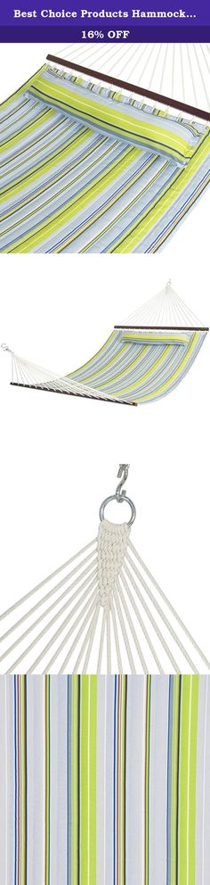 Best Choice Products Hammock Quilted Fabric With Pillow Double Size Spreader Bar, Blue and Green Stripe. Best Choice Products is proud to present this brand new Quilted Pillow Hammock. There's nothing better than relaxing to the rhythm of a swaying hammock in your own backyard. Our quilted hammock comes with a soft pillow so that you can swing away in comfort. The quilted fabric hammock will accentuate any backyard or outdoor area. It features heavy duty cotton fabric that is dye-treated…