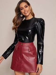 Black Leather Pencil Skirt, Leather Pants, Pu Leather, Leather Skirts, Leather Fabric, Faszination Latex, Shiny Happy People, Leg Of Mutton Sleeve, Leder Outfits