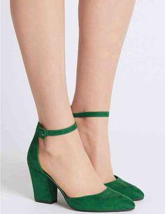 1d40fc10e89f Block Heel Ankle Strap Court Shoes