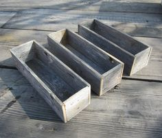 3 Reclaimed Wood Planters or Centerpieces by CountryByTheBumpkins