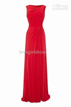 Wholesale Evening Dresses - Buy Simple Sheath Bateau Evening Dresses Floor Length Fold Chiffon P2013042, $60.0 | DHgate