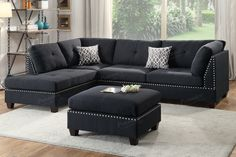 Poundex 3- Pcs Sectional Sofa F6874Description: Bold and beautiful describe this 3-piece sectional that features plush and spacious seating. It also features accent trim in silver studs on both the sectional and matching cocktail ottoman. Make a statement in your home living space. Chaise is reversible to flexibility. Available in bonded leather espresso or polyfiber black.Materials:Black PolyfiberPine WoodParticle BoardSolid wooden legDimensions:Chaise: 75