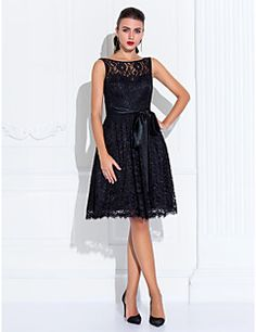 TS Couture® Cocktail Party / Homecoming / Wedding Party Dress - Short Plus Size / Petite A-line Jewel Knee-length Lace with Lace / Sash / Ribbon – USD $ 200.00