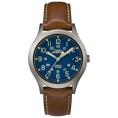 c6c3a1a0a Timex Expedition Scout Unisex 36Mm Watch In Silvertone Brass With Brown  Leather Strap Titanium/blue