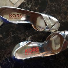 Mk shoes Good condition color silver Michael Kors Shoes Heels