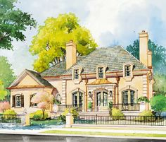 Old World Style - 56135AD | 1st Floor Master Suite, Bonus Room, Butler Walk-in Pantry, Corner Lot, European, French Country, Jack & Jill Bath, PDF, Sloping Lot | Architectural Designs