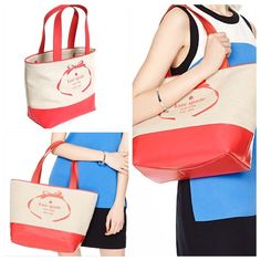 """CLEARANCE New Kate Spade logo canvas tote coral 100% authentic. Natural beige canvas with geranium leather trim. Center Dogleash-clip closure. Inside zip pocket. Handles drop 9"""". Measures 16""""top/11""""bottom x 11.5"""" (H) x 6"""" (W). Brand new with tags. Comes from a pet and smoke free home. kate spade Bags Totes"""