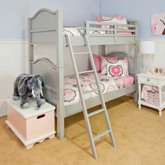 Pink girls room, love the bed bunk too