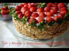 Tort z kremem z mascarpone i truskawkami - TalerzPokus.tv - YouTube Polish Recipes, Polish Food, Sweeter Than Honey, Sweet Pie, Cake Cookies, Strawberry, Fruit, Sissi, Youtube
