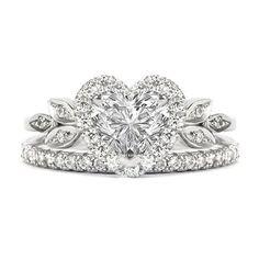 Bague en diamant en forme de fleur de coeur amoureux de correspondance 2mm diamant de l'éternité, ensemble de bague de mariage nuptiale fiançailles diamant - 1,5 carat
