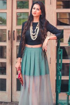 The Stylish And Elegant Skirt Top In Blue Colour Looks Stunning And Gorgeous With Trendy And Fashionable . The French Crepe Fabric Party Wear Skirt Top Looks Extremely Attractive And Can Add Charm To. Western Dresses, Indian Dresses, Indian Outfits, Indian Lehenga, Indian Look, Indian Ethnic Wear, Look Short, Indian Blouse, Mode Hijab