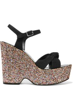 Multicolored glittered heel measures approximately 135mm/ 5.5 inches with a 50mm/ 2 inches platform Black suede Buckle-fastening ankle strap Made in Italy