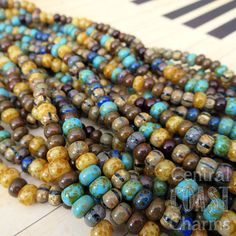 Boho Bliss - Aged Striped 2/0 - 3/0 Czech Glass Rocaille Seed Bead Mix - 50 pcs - 5.5mm  6mm - Rustic Opaque Picasso - Central Coast Charms