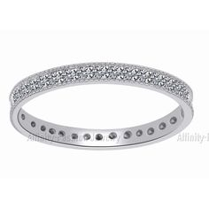 Women's Sterling AAA CZ Eternity Anniversary Wedding Band Ring FINE EDH #AffinityFashionJewelry #WeddingBand