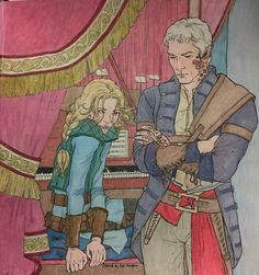 """I haven't played since before Nehemia died,"" Aelin said. Rowan nodded and crossed his arms.  Colored by Pat Gordon."