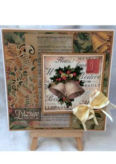 Sharon King - Holly Bells Edge'able Die - Vintage Christmas CD Rom - Crafter's Companion Kraft card - 7 x 7 card base - ribbon, embellishments - #crafterscompanion #Christmas