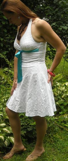 Steppin' Out Size Small White Lace Halter Dress With Blue Tie Ships Free to USA $14.99