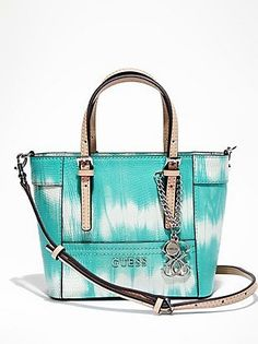 Aquamarine Leather Tote Bag by GUESS. Buy for $65 from GUESS