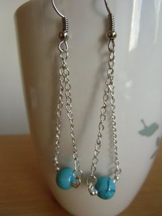 Turquoise beads very simple chandelier earrings.