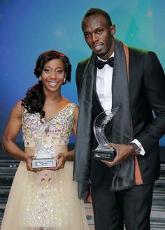 2013 Athletes of the year. Jamaican duo Usain Bolt and Shelly-Ann Fraser-Pryce at the World Athletics Gala in Monaco Usain Bolt Photos, Jamaica People, Shelly Ann Fraser, Visit Jamaica, Beijing Olympics, Fastest Man, Olympic Athletes, Handsome Black Men, Running
