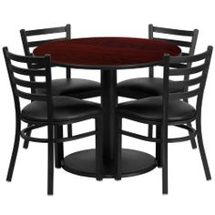 36'' Round Mahogany Laminate Table Set with 4 Ladder Back Metal Chairs - Black Vinyl Seat [RSRB1030-GG] by Belnick Inc. by Belnick Inc.. $265.00. 36'' Round Mahogany Laminate Table Set with 4 Ladder Back Metal Chairs - Black Vinyl Seat [RSRB1030-GG]