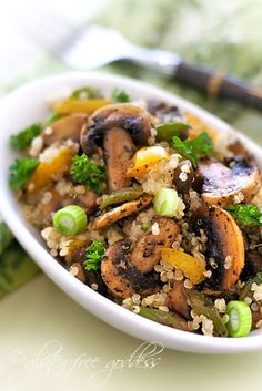 Thanksgiving + holiday side dish: gluten-free. Quinoa pilaf recipe with mushrooms, scallions and bell peppers