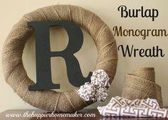 diy burlap monogram wreath, crafts, wreaths, Burlap Monogram Wreath with Fabric Rosettes