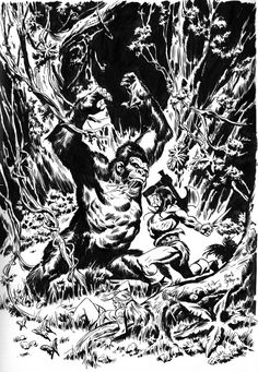 Conan fighting a big mad gorilla in the dark jungle. I started this illustration featuring Tarzan but then I changed my mind and put the Cimmerian inste. CONAN AND GORILLA Comic Book Panels, Conan The Barbarian, Red Sonja, Tarzan, Disney S, View Image, Comic Art, Deviantart, Fantasy