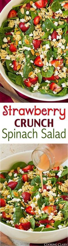 Strawberry Crunch Spinach Salad - this is the BEST summer salad! I love the crunch the ramen adds. Spinach, strawberries, goat cheese, almonds, ramen, green onions and a honey-red wine vinaigrette.
