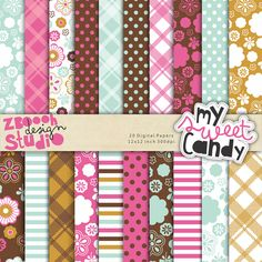 lovely set of 20 digital papers in stylish color combination with summer floral designs, this set can be used as embellishments for invitations, cards, stationery, scrapbooking etc