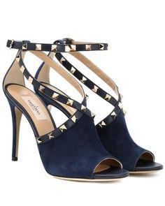 4f20d9cc912f Valentino - Blue Suede Rockstud Pumps - Lyst Navy Blue Heels