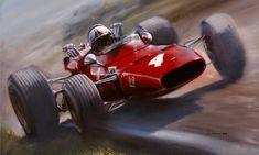Don Packwood - Chris Amon - Ferrari Dino 166 - Pukekohe 68 Courses F1, F1 Mexico, Grand Prix, Ferrari Racing, Ferrari F1, Lamborghini, Up Auto, Gilles Villeneuve, Garage Art