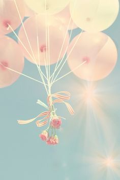 Pink balloons in the sky with a bunch of pink carnations Via melissamercier.com