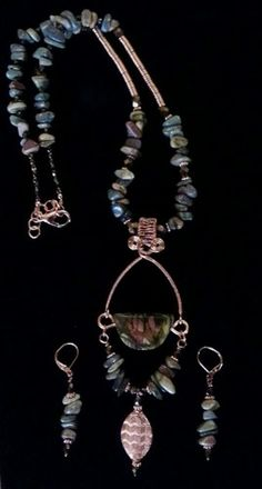 Beautiful Wire wrapped necklace and earring set of Cherry Creek Jasper
