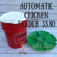 A great alternative to an expensive automatic feeder, a recycled bucket and dollar store tray gets the job done.  Total cost of materials $3.80 and about 30 min…