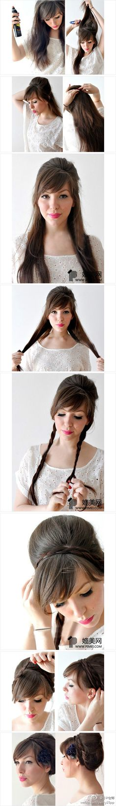 Cute bump and braid updo combo, so q uick and easy! Great style for franchise work visors.