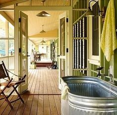 Outdoor Bathtub - pretty cool idea for an outdoor tub/shower base.  Affordable and large.  I like the idea, even in a basement.
