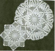 Free Written English and NEW! Pineapples Large & Small Doily crochet patterns from Star Doily Book No. by American Thread Company. Free Crochet Doily Patterns, Crochet Motif, Crochet Designs, Knitting Patterns, Free Pattern, Knitting Tutorials, Crochet Granny, Loom Knitting, Free Knitting