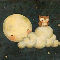 Art for Kids - Owl Say Goodnight Print 14x11 - Wall Art for Nursery, Children's Art, Baby Art, Moon, Night, Baby Owl, Stars, Baby, Cute, Owl