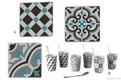 1 - Set de 3 plaques décoratives Adi, 9,90€, La Redoute 2 - Set de 6 tasses à café Mosaik, 22,90€, Silea chez Delamaison.fr