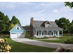 country house with detached breezway garage | Auburn Park Country Farmhouse Plan 040D-0024 | House Plans and More