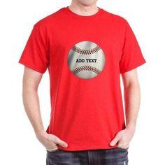 CafePress Personalized Baseball T-Shirt, Size: Large, Red
