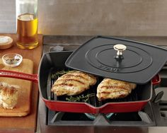 "Staub Cast-Iron Grill Pan & Press, 12"" #williamssonoma Griddle Grill, Best Griddle, Cast Iron Grill Pan, Cast Iron Cooking, Portsmouth, Panini Press, French Toast, Wedding Gifts, Test Kitchen"
