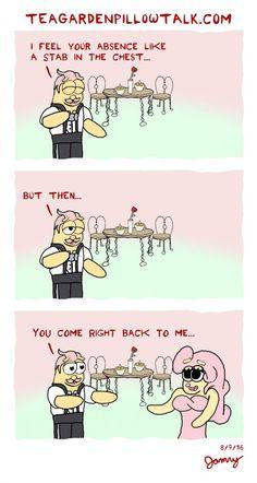 Aug 9 - Tea Garden Pillow Talk -  Absence - Miss her everytime... Romantic Quotes - Romantic Comics - Love - Cute Couples
