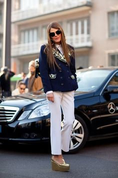 Anna Dello Russo goes nautical with a hint of gold, by Mr. Newton's Eddie Newton