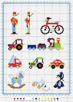 Grilles point de croix - Chez elkalin.com Baby Cross Stitch Patterns, Hand Embroidery Patterns, Cross Stitch Charts, Cross Stitch Designs, Small Cross Stitch, Cute Cross Stitch, Quilting Projects, Sewing Projects, Stitch Toy