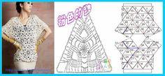 blusa con triangulos a crochet. Con diagrama