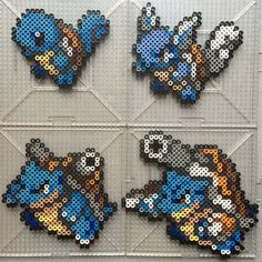 Squirtle Family - Pokemon perler beads by TehMorrison on DeviantArt Hama Beads Pokemon, Diy Perler Beads, Perler Bead Art, Pearler Beads, Melty Bead Patterns, Pearler Bead Patterns, Perler Patterns, Beading Patterns, Pixel Art
